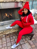"Red 2 Piece Jogger Hoodie Set ""HAT INCLUDED"""