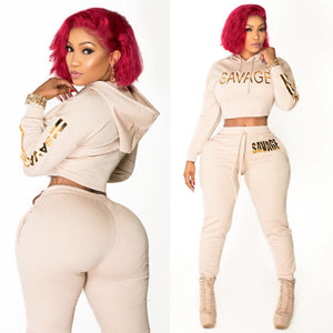 "Tan ""Savage"" 2 Piece Joggers set with hoodie"