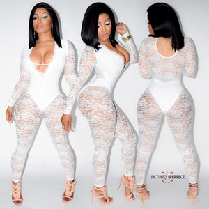 Ms. All White Affair (White Detailed Mesh Bodysuit With Built In Underliner