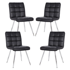 Set of 4 - Petras Vegan Leather Chairs in Black
