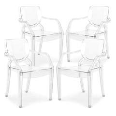 Set of 4 - Avery Kids Dining Armchairs in Clear
