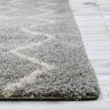 Grayson Chevron Shag Area Rug (8' x 10') in Light Grey