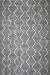 Grayson Chevron Shag Area Rug (5'3'' x 7'6'') in Light Grey
