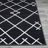 Coyer Geometric Area Rug (8' x 10') in Dark Grey