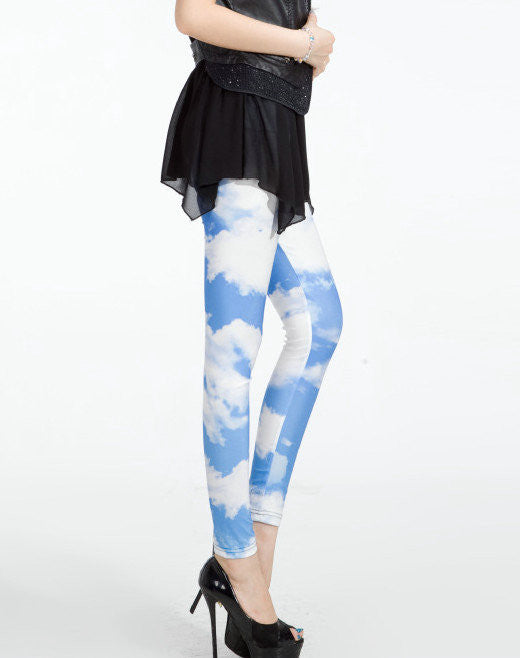 Leggings - Europe And United States Hot Star And Blue And White Leggings - Epic Leggings