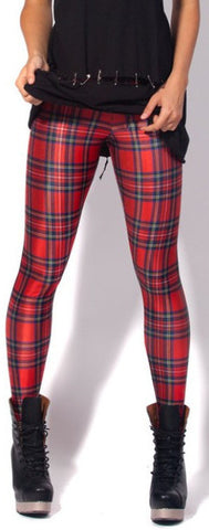 Star And Sexy Red Plaid Tight Leggings