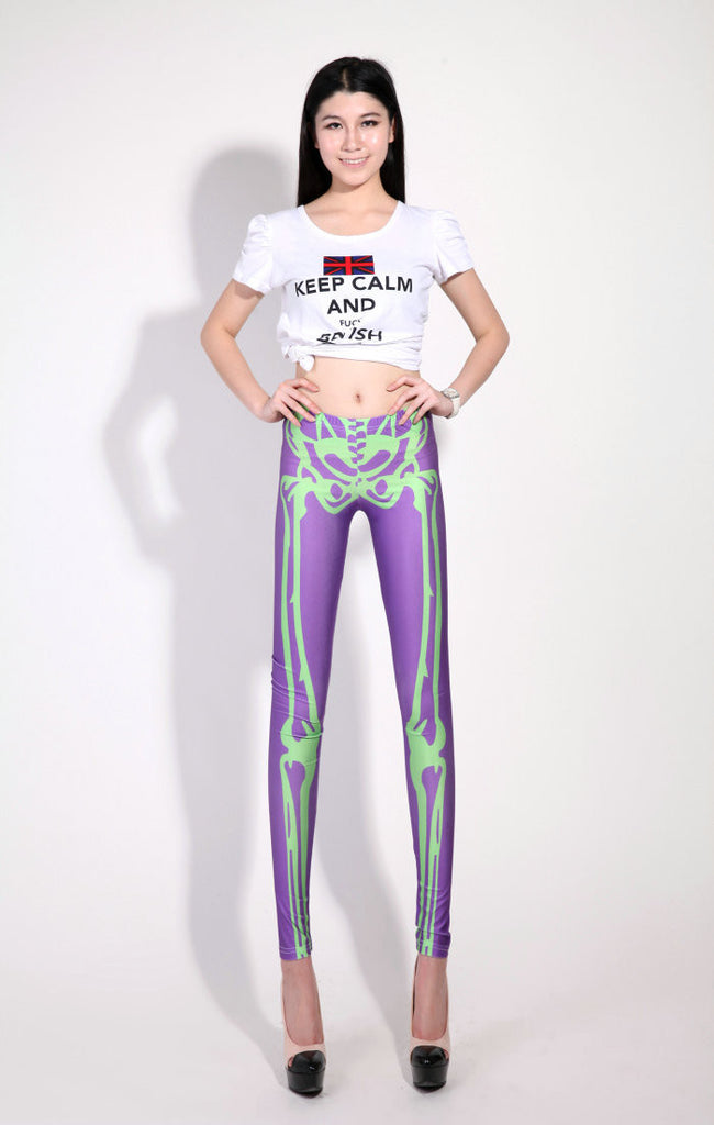 Pink And Green Skeleton Leggings