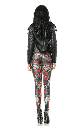 Leggings - Black Bottom Rose Skull Sexy Leggings Silk - Epic Leggings