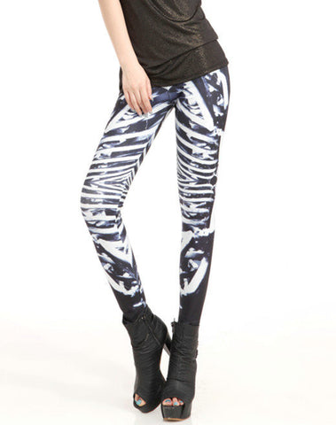 Leggings - Black and White Skeleton Slinky Leggings - Epic Leggings