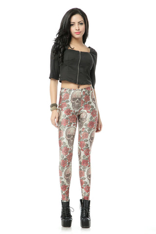 Leggings - Big Skull Rose Sexy Silk Leggings - Epic Leggings