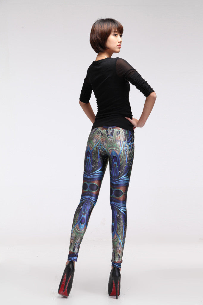 Sky And Ms Peacock Feathers Sexy Leggings