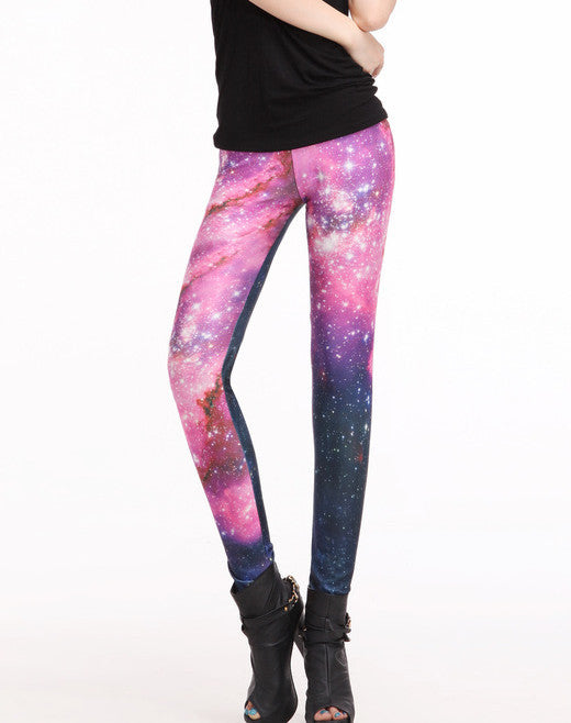 Sky And Galaxy Rose Red Sexy Tight Leggings