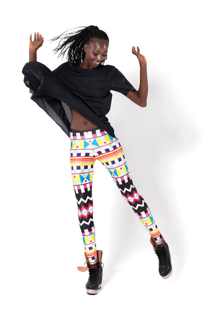 Leggings - Multicolor Geometric Pattern Leggings - Epic Leggings
