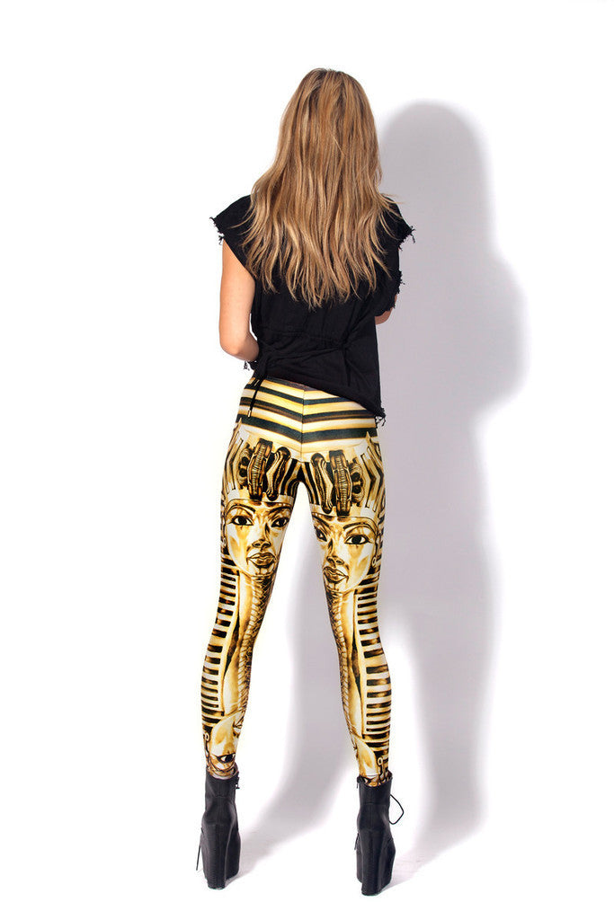 Sky And Golden Egyptian Pharaoh Tight Sexy Leggings