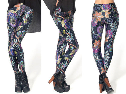 Sky And Flowers Leggings Sexy Black