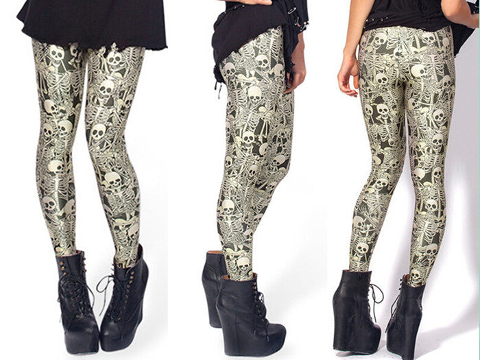 Leggings - European And American Star And Skull Sexy Leggings - Epic Leggings