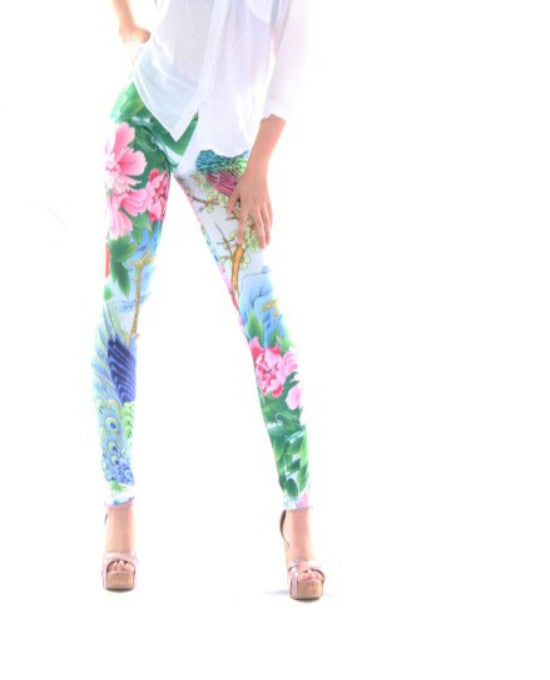 Sky And Peacock Flower Sexy Silk Leggings