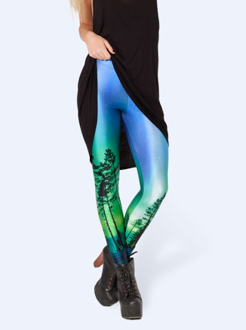 Leggings - Black Leggings Europe And United States Show Thin Trees Printed Leggings Stars - Epic Leggings