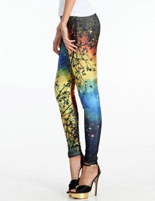 Star Sky And Branches Sexy Tight Leggings