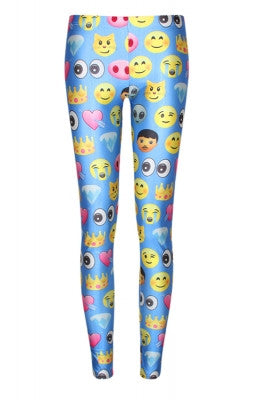 Leggings - Blue Funky Emoji Leggings - Epic Leggings