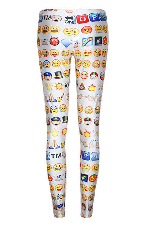 Fashion Emoji Print Ladies Leggings