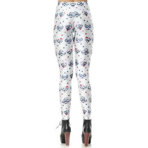 Leggings - Fashion Poker Print Stretch Full Length Leggings - Epic Leggings