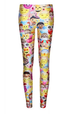 Leggings - Funky Stretchy Yellow Emoji Leggings - Epic Leggings