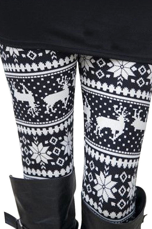 Skinny Warm Christmas Deer Printed Leggings