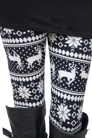 Leggings - Skinny Warm Christmas Deer Printed Leggings - Epic Leggings
