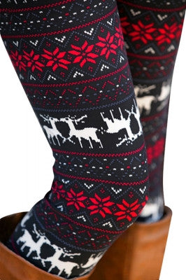 Leggings - Deer Print Holiday Winter Leggings - Epic Leggings