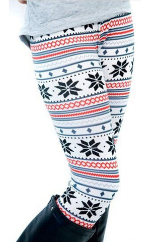 Eye Catching Snowflake Pattern Winter Knit Leggings