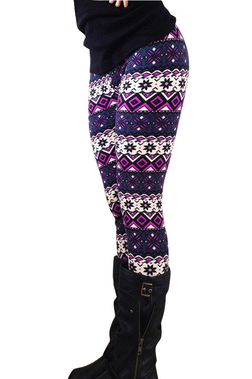 Leggings - Geometric Flower Print Winter Sweater Leggings - Epic Leggings