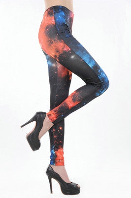 Leggings - Orange Black Blue Galaxy Leggings - Epic Leggings