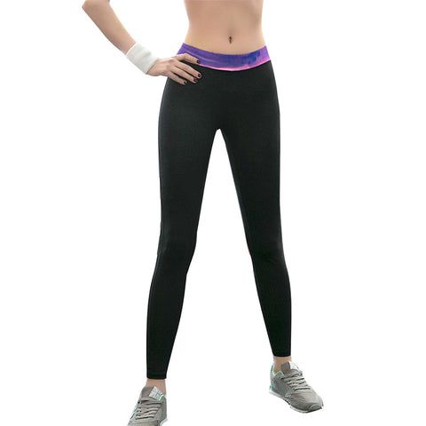 Leggings - Black Yoga Pants With Purple and Pink Waistband - Epic Leggings