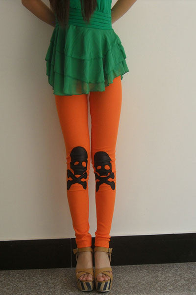 Leggings - Orange Color with Skull Leggings - Epic Leggings