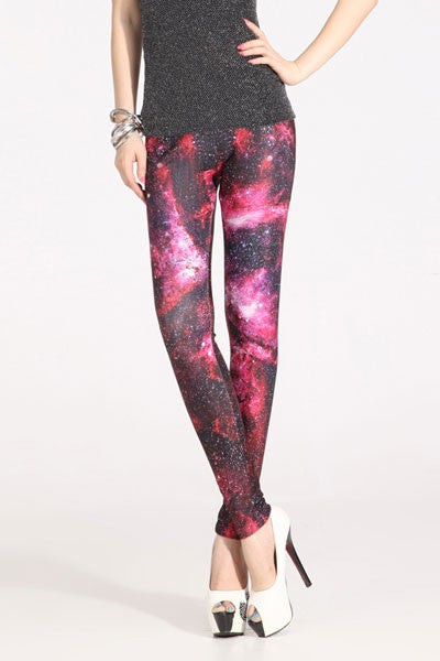 Red Stylish Starry Sky Leggings