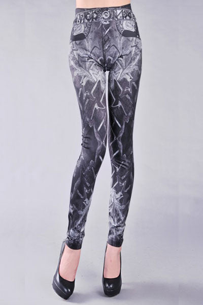 Leggings - Gray Print Simple Leggings - Epic Leggings