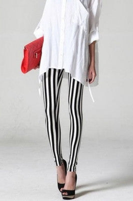 Leggings - Black and White Woman Line Leggings - Epic Leggings