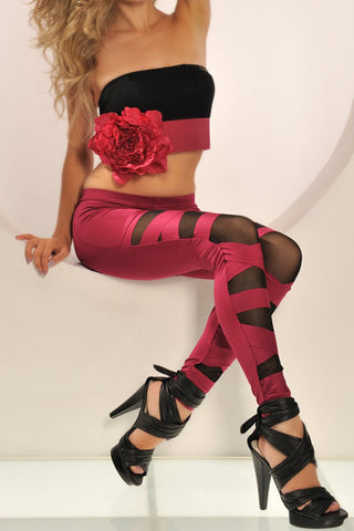 Red Cut Leggings