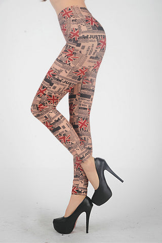UK Paper Print Leggings