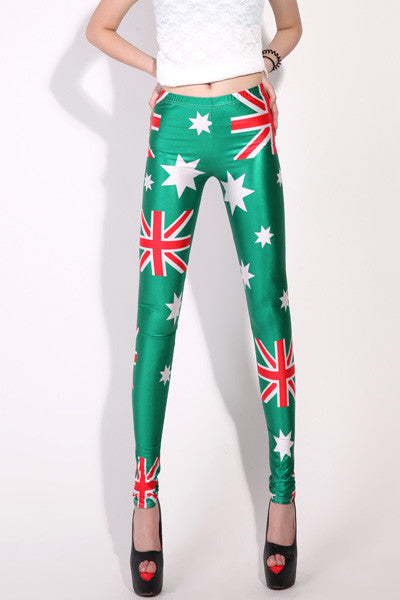 Leggings - Australian Flag Green Leggings - Epic Leggings