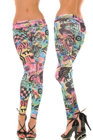 Leggings - Colorful Letter Leggings - Epic Leggings