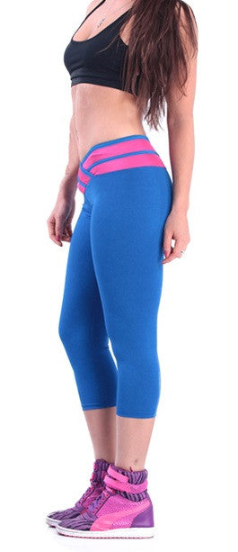 Leggings - Chic Blue Athletic Leggings With Pink Belt Line - Epic Leggings