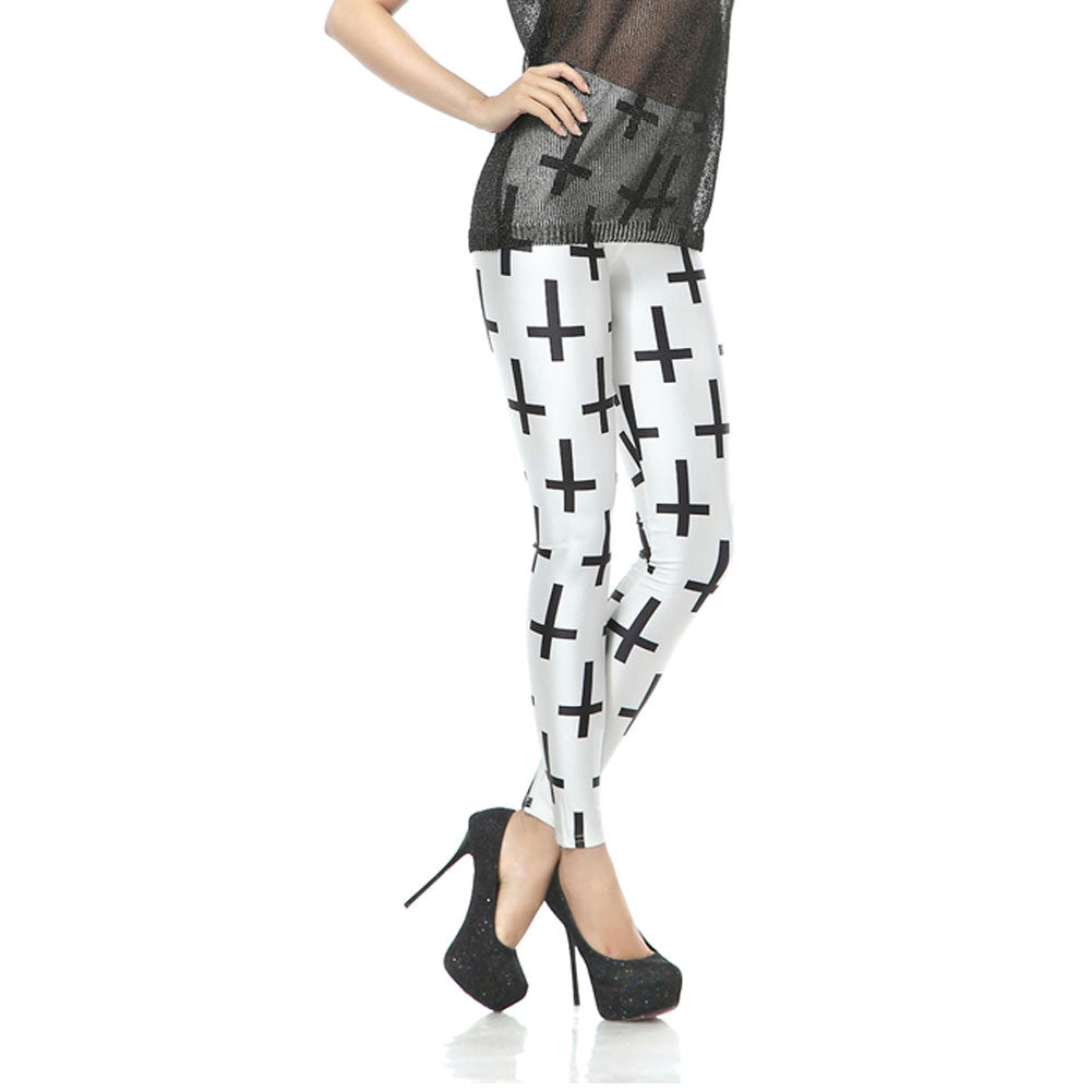 Leggings - Black Cross White Leggings - Epic Leggings