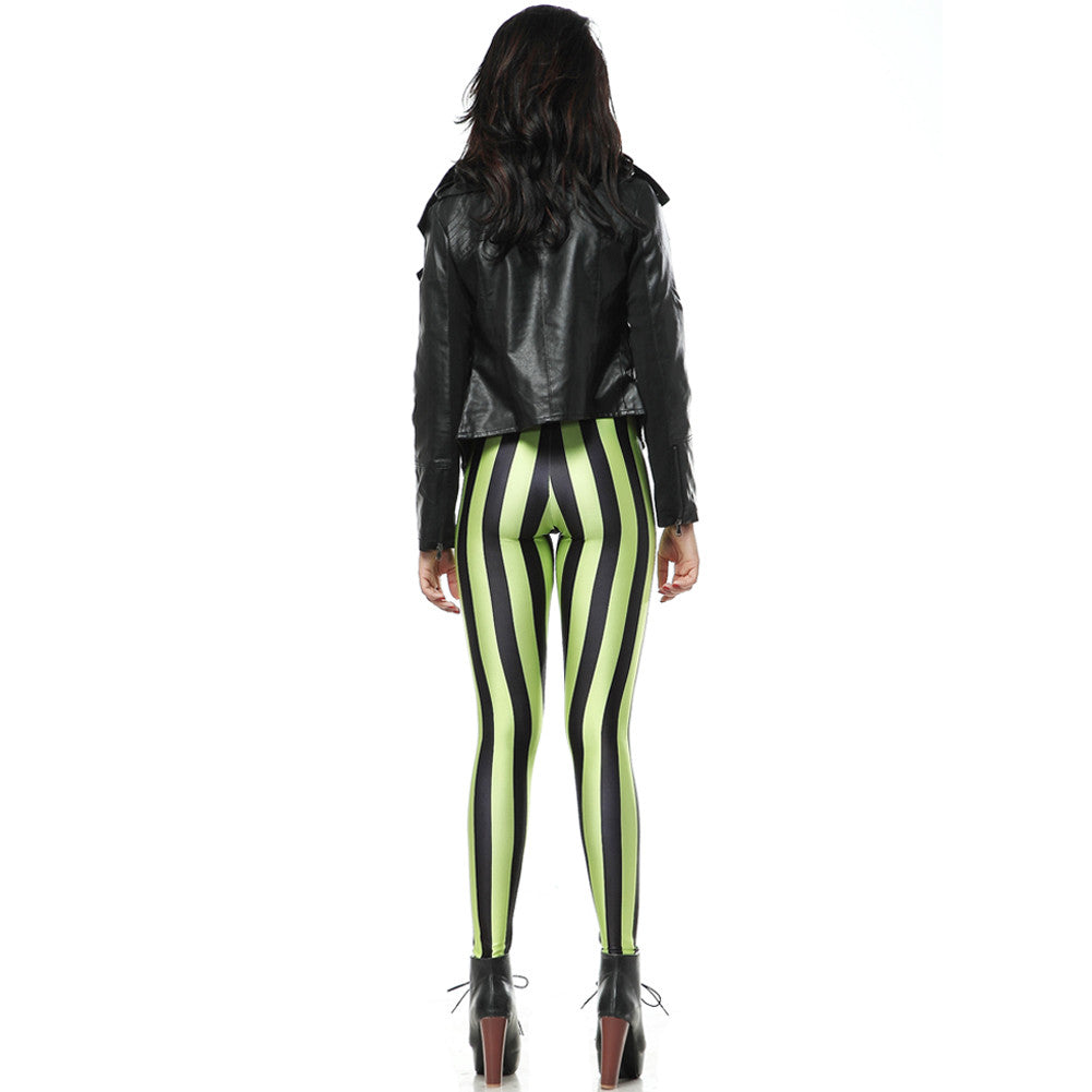 Leggings - Green and Black Striped Leggings - Epic Leggings