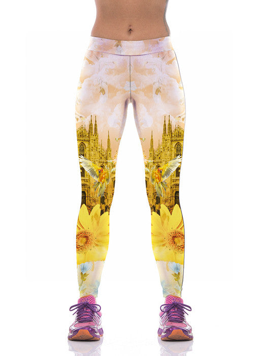 Yellow Chrysanthemum Printed Leggings