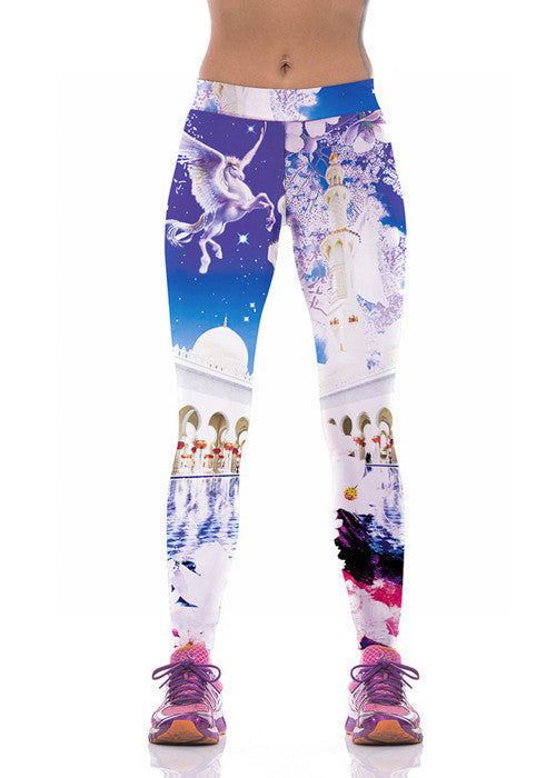 Sakura White Castle Printed Leggings