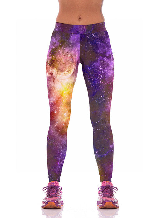 Purple Galaxy Fitness Leggings