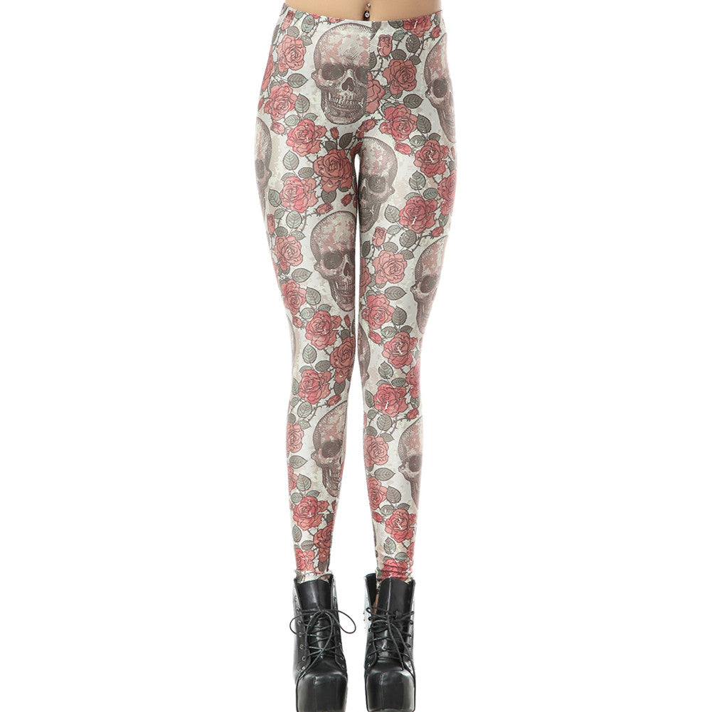 Rose Floral and Skull Print Leggings
