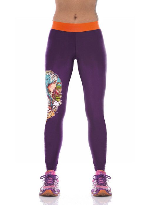 Purple Warrior Printed Leggings